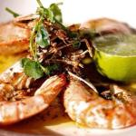 Pan-fried tiger prawns with garlic & parsley butter or sweet chilli & ginger