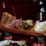 The charcuterie board, piled high.