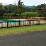Our view, the pool with pond behind it, picnic shelter just down from the pool, our fire ring.