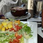 Salad, French Onion Soup, and Bloody Mary