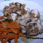 Rollata, carrots with garlic ,and mushrooms
