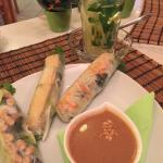 Vegetarian Spring rolls and ginger tea with mint