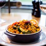 Lussmanns St Albans - oven-baked paella with chargrilled vegetables and local halloumi