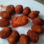 Chipirpones al salmorejo y Cocretas de jamon