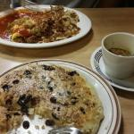 Oatmeal pancake with crai sins and walnuts, green chile, enchilada omelet