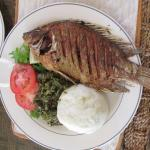 Talapia from Lake Victoria and other good items on menu at hotel