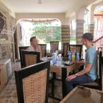 Covered outdoor dining area at hotel serves good food