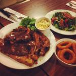 Triple platter, garden salad and onion ring