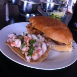 Shrimp Torta and Ceviche Tostada