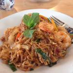 Spicy crispy duck Spicy pad Thai with shrimp Butterfly wontons with crispy garlic