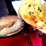 Sides for the main meal: rice and garlic naan