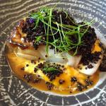 Cod with rosemary and orange reduction