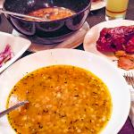 Beans soup with smoked pig's knuckle.