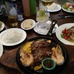 Steak with shrimp and shrimp dinners