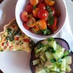 Cucumber salad, spinach quiche, heirloom tomato salad