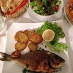 Doradevom Grill mitRosmarinkartoffeln und Salat 15,90 €