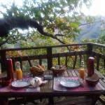 la terrasse et le petit déjeuner