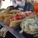 A great late lunch with a warm lobster roll, slaw and fries