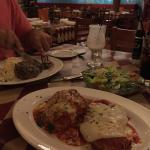 Lasagna with parmisian chicken and a NY strip!