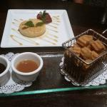 Churro Bites and Flan Dessert