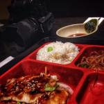 Our chicken teriyaki Bento Box lunch. Delicious and great price. With a Miso soup and salad. I'd