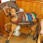 A wooden horse in the restaurant
