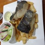 Blue Grenadier fish fillets with fresh salad and chips and tartare