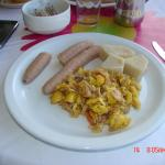 Ackee and Saltfish with Green Bananas and Yam, Juices, Fruits
