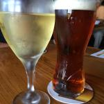Chardonnay and draught, at The Brass Bell Pub, Crofton, BC