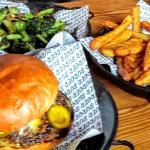 Beef burger, broccoli and kumara fries