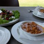 Chicken in creamy chilli sauce with greek salad