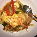 Stir fried prawns with chilli