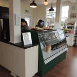 Inside counter to order with display case with danish