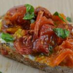 Delicious roasted peppers and tomato burata