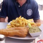 Large cod medium chips and peas yum yum