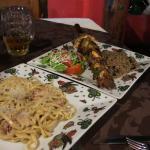 Fettuccini and mixed brochette