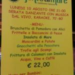 menù e prezzo