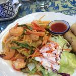 This lunch special featured curried prawns, spring rolls and crisp salad