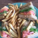 The veggie club sandwich- it had a great tangy sauce on it