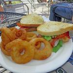 Guacamole BLT with onion rings