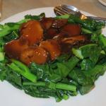 Chinese broccoli with Chinese mushrooms