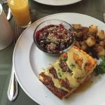 Chicken/Asparagus Frittata with Hollandaise, Potatoes, Apple/Cherry Crisp