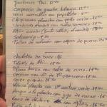 Handwritten menu read personaly to customers by the chef