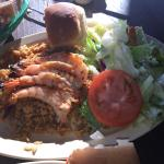 Oysters on the half shell, Famous Mambo Rice w/grilled Shrimp, and Shrimp and Stuffed Crab for m