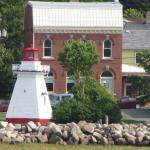 Anapolis Royal Lighthouse as seen from the water.