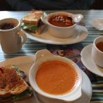 Delicious Mount Cushman sandwich and Creamy Tomato Basil soup.