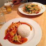 Sweet & Sour Prawns (1) & Duck Red Curry (21)