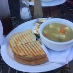 Chicken salad sandwich and turkey noodle soup