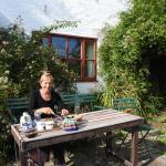 Tea with homemade cake in the garden