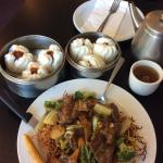 BBQ pork buns, crispy pan fried noodles with beef and hot tea. Perfect!